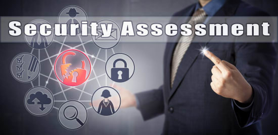Floating symbols, including a lock, indicating application security assessment